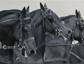 Horse painting - 110x30cm Vlaame